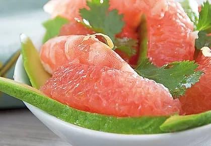 Illustration pour la recette diététique salade pomelos crevettes